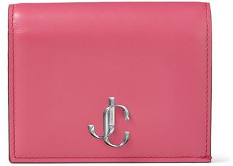 Jimmy Choo HANNE Bubblegum-Pink Smooth Calf Leather Wallet with JC Emblem