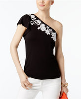 INC International Concepts Embroidered One-Shoulder Top, Created for Macy's