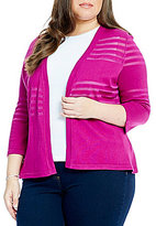 Allison Daley Plus 3/4 Sleeve Open Front Cardigan