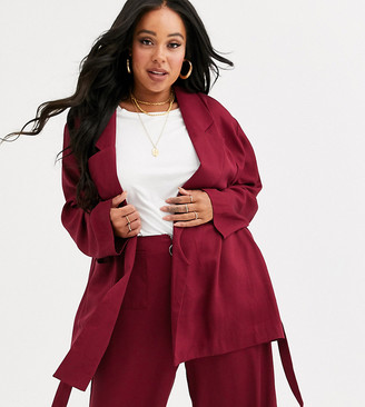 Native Youth Plus wrap front blazer in satin co-rd
