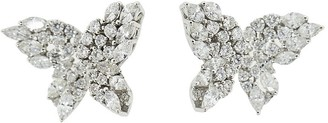 YEPREM 18kt White Gold Diamond Butterfly Earrings