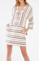 BCBGMAXAZRIA Milana Striped Lace-Up Tunic Dress