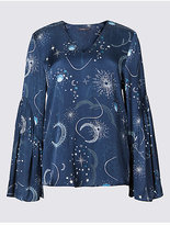 Limited Edition Printed V-Neck Flared Sleeve Shell Top