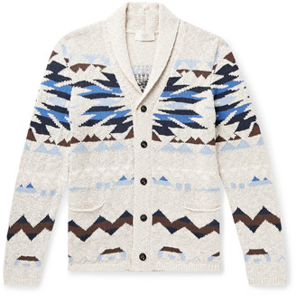 Altea Shawl-Collar Intarsia Cotton-Blend Cardigan