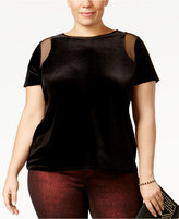 INC International Concepts Plus Size Velvet Illusion Top, Only at Macy's