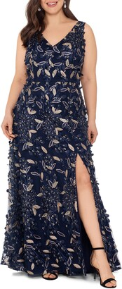 Xscape Evenings 3D Embellished Floral Gown
