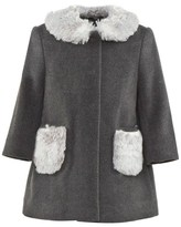 Il Gufo Grey Wool Coat With Faux Fur Collar