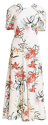 Alexander McQueen Women's Endangered Floral Silk Cape-Sleeve Midi Dress