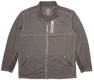 Tommy Bahama Big Tall Beach Trek IslandZone(r) Full Zip (Onyx) Men's Sweater