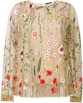 Odeeh sheer floral embroidered blouse - women - Cotton/Polyamide/Polyester - 40