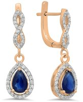 DazzlingRock Collection 14K Rose Gold Pear Cut & Round Cut White Diamond Ladies Halo Style Dangling Drop Earrings