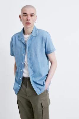 Selected Light Blue Short-Sleeve Denim Shirt - blue XL at Urban Outfitters
