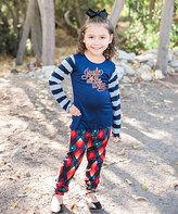 Beary Basics Navy 'Jingle' Tee & Red Plaid Leggings - Toddler & Girls