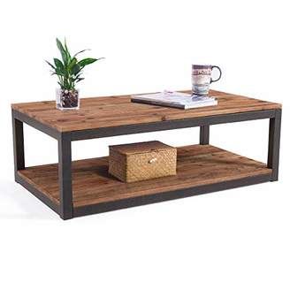 "Care Royal Vintage Industrial Farmhouse 43.3"" Coffee Table/Accent Cocktail Table with Storage Open Shelf for Living Room"