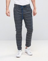 Asos Skinny Pants With Embroidered Horizontal Stripe