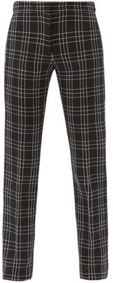 Alexander McQueen Checked Wool-twill Slim-leg Trousers - Black White