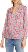 Rebecca Taylor Coral Fleur Long Sleeve Silk Blend Blouse