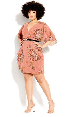 City Chic Sweet Floral Wrap Dress - guava