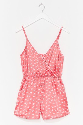 Nasty Gal Womens Our Lips Are Sealed Wrap Satin Pajama Romper - Pink