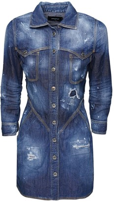 DSQUARED2 Destroyed Denim Shirt Mini Dress