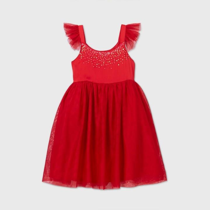 Cat & Jack Girls' Flutter Sleeve Satin Tulle Dress - Cat & JackTM