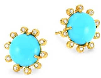 Nina Gilin 14K Yellow Gold. Diamond & Turquoise Earrings