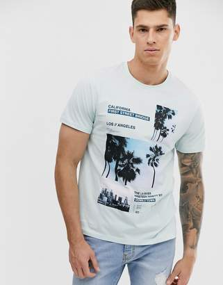 Burton Menswear t-shirt with graphic print in mint-Green