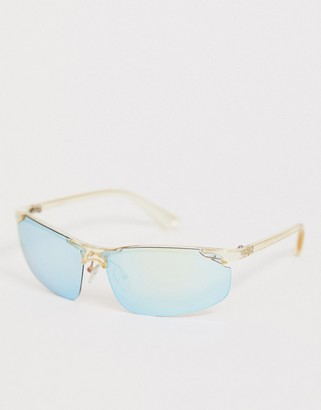 clear Asos Design ASOS DESIGN visor in plastic and blue mirror lens