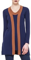Akris Punto Contrast-Trimmed Open-Front Cardigan, Ultramarine/Nougat