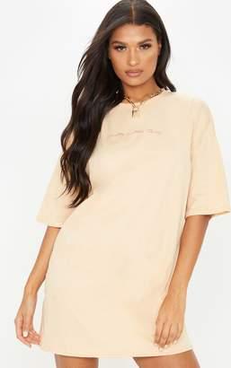 PrettyLittleThing Fawn Slogan Oversized Boyfriend T Shirt Dress