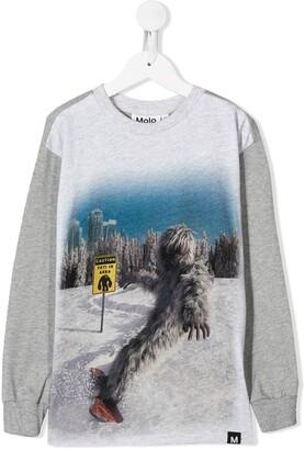 Molo Kids yeti snowboard graphic print sweatshirt