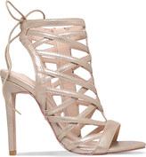 Carvela Gracie metallic faux suede caged sandals