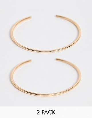 Asos Design DESIGN pack of 2 fine arm cuffs in gold tone