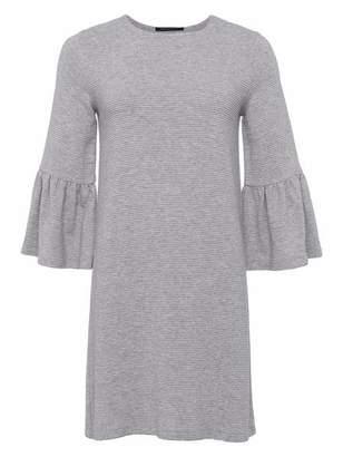 French Connection Paros Sudan Dress - 8 / Light Grey Melange - White/Grey