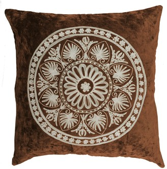 "Entryways Chocolate Embroidered Surya Medallion Velvet Throw Pillow - 20""x20"""