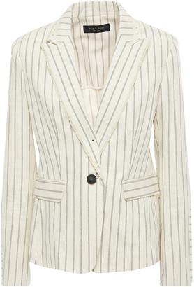 Rag & Bone Millie Frayed Pinstriped Cotton-blend Twill Blazer
