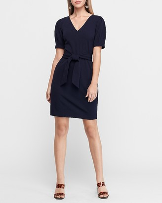 Express Puff Sleeve Tie Waist Sheath Dress