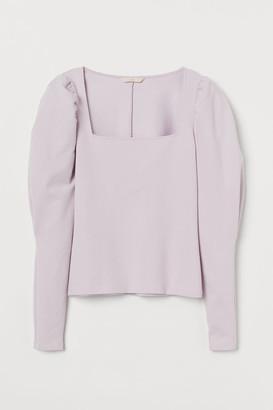 H&M Puff-sleeved Top - Purple