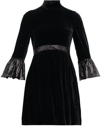Miu Miu Sequinned-cuff Velvet Mini Dress - Black