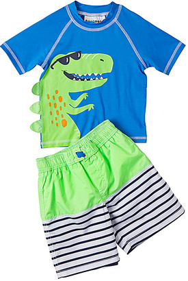 Wippette Boys' Board Shorts GREEN - Green & Blue Alligator & Stripe Rashguard Set - Toddler