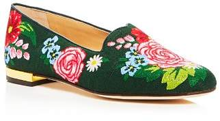 Charlotte Olympia Rose Garden Embroidered Smoking Slippers