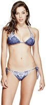 GUESS Denim and Lace Side-Tie Bikini Bottoms