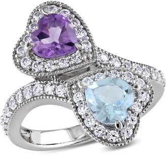 Delmar Sterling Silver Amethyst, Sky Blue Topaz & Created White Sapphire Double Heart Ring