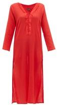 Albus Lumen - Aziza Cotton-gauze Hooded Dress - Womens - Red