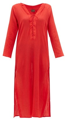 Albus Lumen - Aziza Cotton-gauze Hooded Dress - Womens - Red