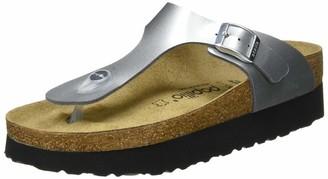 Birkenstock Tongs Gizeh Birko-flor Platform Metallic Silver Womens Sandal