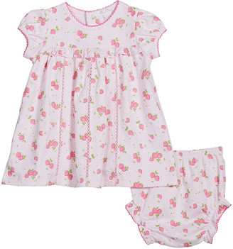Kissy Kissy Girl's Strawberry Soiree Dress w/ Matching Bloomers, Size 3-24M