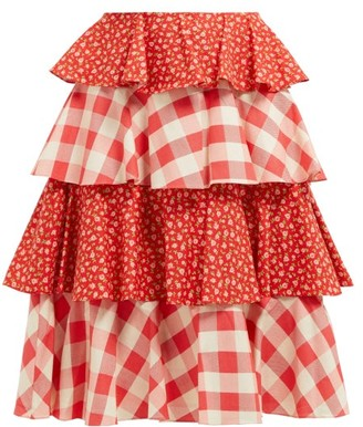 Batsheva Gingham And Floral-print Tiered Cotton Skirt - Womens - Red White