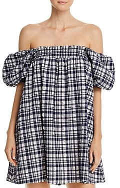 Solid & Striped Puckered Plaid Babydoll Dress Swim Cover-Up