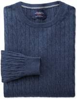 Charles Tyrwhitt Indigo Cotton Cashmere Cable Crew Neck Cotton/Cashmere Sweater Size Small